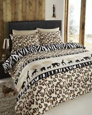 NEW WILD SAFARI LEOPARD ZEBRA PRINT SERENGETI REVERSIBLE DUVET COVER BED SET