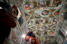 Journalists look at the Sistine Chapel with its new lighting during a press visit at the Vatican on October The Vatican presented the LED lighting in the Sistine Chapel to illuminate the ceiling frescos. Art Quiz, New Pope, Energy Efficient Lighting, Sistine Chapel, First Art, Vatican, State Art, Lamp Design, Contemporary Artists