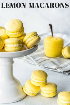 These Lemon Macarons are the perfect balance between sweet and tangy, in two perfect, delicate bites! They are filled with Lemon curd and buttercream. French Desserts, Lemon Desserts, Köstliche Desserts, Homemade Desserts, Delicious Desserts, Easy Cookie Recipes, Sweet Recipes, Baking Recipes, Lemon Macarons