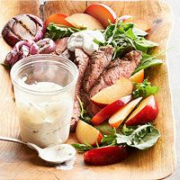 BHGs Newest Recipes:Flank Steak and Plum Salad with Creamy Chimichurri Dressing Recipe
