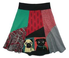 Christmas Pugs Boho Chic Upcycled Hippie Skirt Women's Small Medium recycled t-shirt clothing from Twinkle