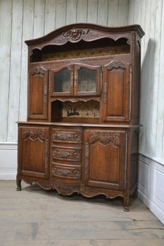2201031 Large Antique Oak French Country Vaisselier Cabinet Buffet Sideboard Vintage