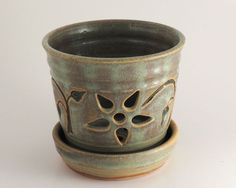 Orchid Pot  Stoneware  Soft Green by LomaPrietaPottery on Etsy