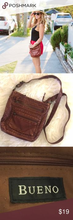 Vintage Brown Leather Crossbody Bag Vintage brown leather crossbody. Super soft and lots of pockets. Found at vintage shop in Charleston, South Carolina  Bueno Bags Crossbody Bags