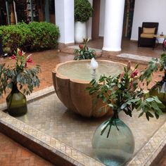 Beautiful fountain at Les Jardin de Medina in the kasbah. Simple and lovely. #marrakech #Morocco #riad #travel #water #fountains