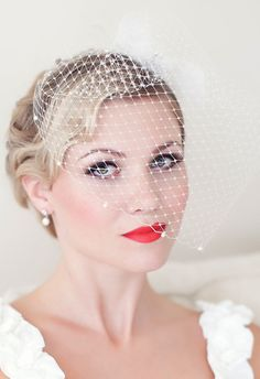 Bridal Birdcage Veil, Wedding Birdcage veil, Birdcage Veil Embellished with Swarovski Pearls, Bridal Veil, Wedding Veil Wedding Hairstyles With Veil, Bride Hairstyles, Hairstyle Short, Wave Hairstyle, Teen Hairstyles, Celebrity Hairstyles, Bride Makeup, Wedding Makeup, Vintage Makeup