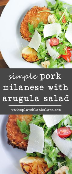 Simple pork Milanese with arugula, tomato and mozzarella salad. Top with Parmesan and serve with a charred lemon for an easy dinner that's sure to impress. Veal Milanese, Chicken Milanese, Best Pork Recipe, Pork Recipes, Cooking Recipes, Recipies, Mozzarella Salad, Pork Cutlets, Rezepte