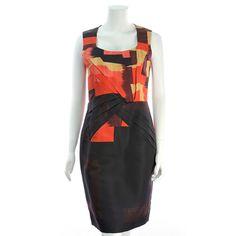 Oscar de la Renta Black Graphic Print Silk Sleeveless Dress - $299.99