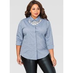 Ashley Stewart Chambray Multi Seam Button Front Shirt Blue ($22) via Polyvore featuring tops, blue chambray shirt, plus size chambray shirt, spread collar shirt, chambray shirts and ashley stewart