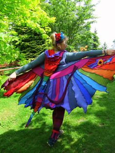 "You've got to love it for it's description alone: ""FaIryTea Reconstructed Recycled Upcycled gypsy festival hippie elf fairy pixie coat hoodie Sweater 'Moonfruit' sleeveless Rainbow Pixie tattered UK 12 US 10"""