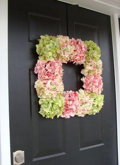 Cottage Chic Hydrangea Wreath- Summer Wreath- Mothers Day Wreath- Wall Art- Spring Decor- Wedding Wreath- Square Wreath SALE via Etsy