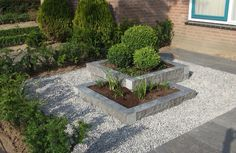Small front yard with raised edges and gravel around it. Low maintenance and ., Hinterhof Landschaftsbau wartungsarm Small front yard with raised edges and gravel around it. Low maintenance and .