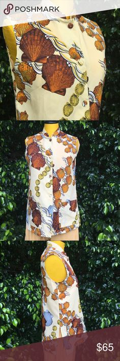 Vintage LIBERTY HOUSE button up sleeveless top Vintage LIBERTY HOUSE of Hawai'i button up sleeveless top. What a mermaid would wear to a board meeting! Fabric covered buttons. Split at seam. Mollusk, clam shell print in butterscotch, orange, cream, yellow and black. Light weight fabric. A couple stains at back of neckline. May come out with a little effort. Last photo shows small stains at collar and dart detail at bust Liberty House of Hawaii Tops Button Down Shirts
