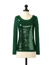 Green Bay Packers Long Sleeve Sequin Top in Dark Green