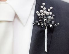 Darius Boutonniere in White Pearl with Clear by BridalBouquetsbyKy