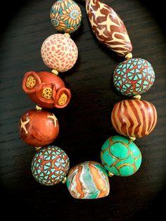 Polymer Clay Necklace, Polymer Clay Beads, Lampwork Beads, Polymer Clay Sculptures, Polymer Clay Animals, Bijoux Design, Clay Design, Polymer Clay Projects, Ceramic Jewelry