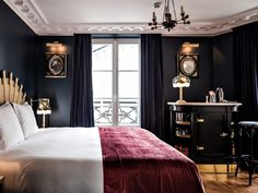 Set in the city's trendy Canal Saint-Martin district, this hotel has all the trappings of a boutique hot spot: It looks like a cross between an English country manor and a retro Parisian apartment, in large part due to House of Hackney wallpapers, vintage squat armchairs in mustard and brick, dark woodwork, velour furnishings, and claw foot bathtubs. On our list of standout features: In each of the 18 rooms and suites, ho-hum desks have been replaced with a proper bar stocked with all the…