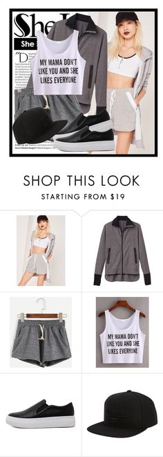 """SheIn"" by diana97-i ❤ liked on Polyvore featuring Missguided, Balmain, 10 Crosby Derek Lam, WithChic, Billabong, shorts, drawstringshorts, shein and greyshort"