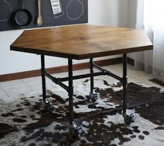 Honeycomb Table with Pipe Legs