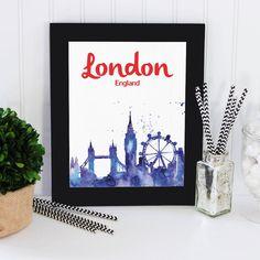 London printable Printable Wall Art printable art by OfflineDesign Calligraphy Print, London England, Printable Wall Art, Starwars, Waiting, Canvas Art, Printables, Watercolor, Art Prints