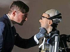 Documentary maker Bertolt Meyer (who has a bionic hand) is pictured examining 'Rex'  .... 60 to 70 percent of a human has effectively been rebuilt