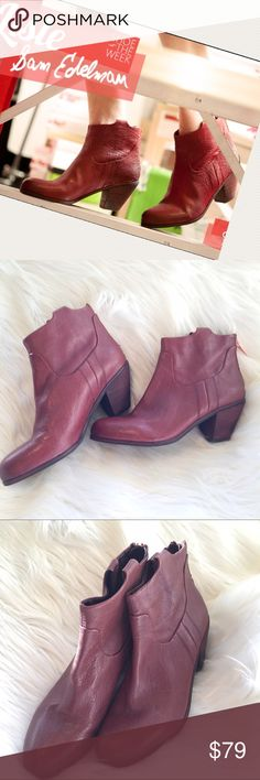 """Sam Edelman Lisle Booties Excellent condition. Sam Edelman Lisle - pebbled leather, almond toe, rose gold hardware back zip, stacked heel. The color is not as red as it appears in the first picture – I would describe it as a mahogany. Size 8.5. 3"""" heel Sam Edelman Shoes Ankle Boots & Booties"""