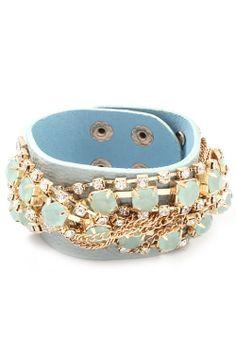 Blue Crystal and Rhinestone Leather Snap Bracelet