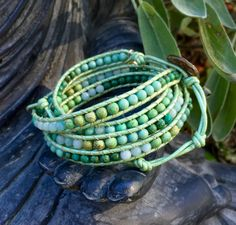 African turquoise beads on Greek leather. Crescent Lane Jewelry.