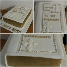 White and gold bible Confirmation Cakes, Bible, Gold, Home Decor, Biblia, Decoration Home, Room Decor, Home Interior Design, Home Decoration