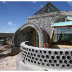 Earthships! using bottles to build walls and add color