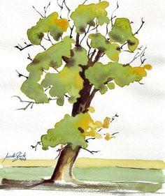 Tree study original watercolor painting by NaderShenoudaArt