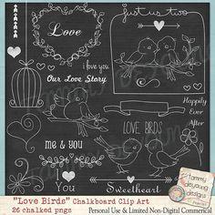 Chalkboard Art Wedding Love Birds clip art for by songinmyheart, $4.50