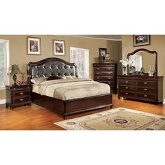 Arden Bed Transitional style Leatherette tufted upholstered headboard Solid wood and wood veneers Furniture of America Arden Bedroom Set Finish: Brown Cherry Materials: Solid Wood & Wood Veneers /...