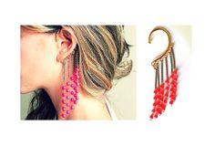 FREE SHIPPING Red beaded ear cuff earring ear wrap by worn2Bwild, £12.00