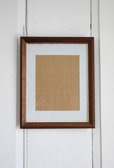 Beveled Wood Picture Frame Vintage 11 x 14 or 8 x 10 Brass
