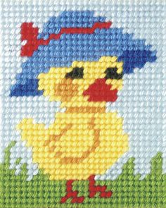 Mother Duck : Orchidea Beginner Embroidery Kit - Very Easy to Work - Cross Stitch Cards, Cross Stitch Rose, Cross Stitch Baby, Cross Stitch Animals, Cross Stitching, Cross Stitch Embroidery, Embroidery Patterns, Hand Embroidery, Beginner Embroidery