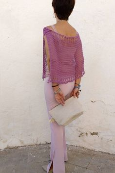 Cotton knit capelet, wedding cover up for women, lilac cotton poncho cape, bridal capelet, party dress cover up – 2019 - Cotton Diy Bauchfreier Pullover, Lila Party, Knitted Capelet, Summer Wraps, Ladies Poncho, Crop Top Sweater, Vegan Clothing, Summer Knitting, Look Cool