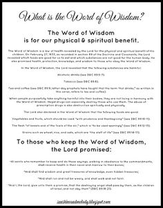 Word of Wisdom Handout for ACTIVITY DAYS LESSON.. What is the word of wisdom?  Great information on the Word of Wisdom.  Also great handout for young women, young men, relief society, scouts, primary, etc.