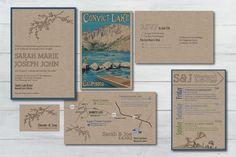 craft paper invitation suite, convict lake wedding // onelove photography