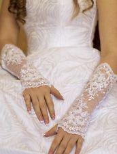 Neu Brauthandschuhe aus Spitze mit Perlen Glasperlen  ivory/ creme, weiß