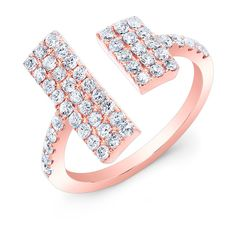 Anne Sisteron  14KT Rose Gold Diamond Double Brick Ring ($1,875) ❤ liked on Polyvore featuring jewelry, rings, rose, rose ring, rose gold diamond jewelry, pink rose gold ring, diamond jewelry and red gold jewelry