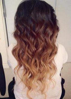 Brown Ombre Hair 2014: Brown to Blonde Wavy Dip-Dye Cascade