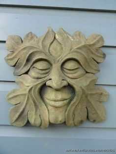 Beautiful Replica Antique Style Green Man Wall Head Plaque Sculpture Mythical | eBay