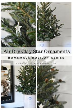 Easy Christmas ornament idea using air dry clay. Perfect for a simple Christmas style, rustic, woodland, scandinavian, farmhouse Christmas