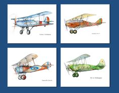 Airplane decor Set of FOUR prints for boys nursery Vintage military propeller airplanes  Aviation decor Baby boy room wall art by Mirabilitas on Etsy