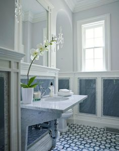 Blue And White Interior Architecture And Mouldings