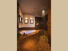Asheville Bed & Breakfast - tub fills from ceiling, rainhead shower, fiber optic lights in floor - 60,000+ Repins!