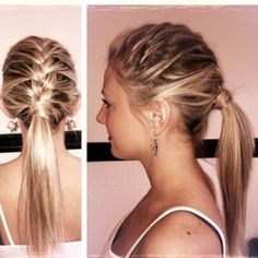 French braid into a ponytail, hide the hair elastic with a small section of hair