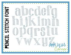 Pencil Stitch Embroidery Font