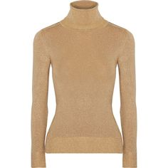 JoosTricot Metallic stretch-knit turtleneck sweater (1.730 BRL) ❤ liked on Polyvore featuring tops, sweaters, gold, beige turtleneck, turtleneck sweaters, turtle neck top, polo neck sweater and fitted sweater